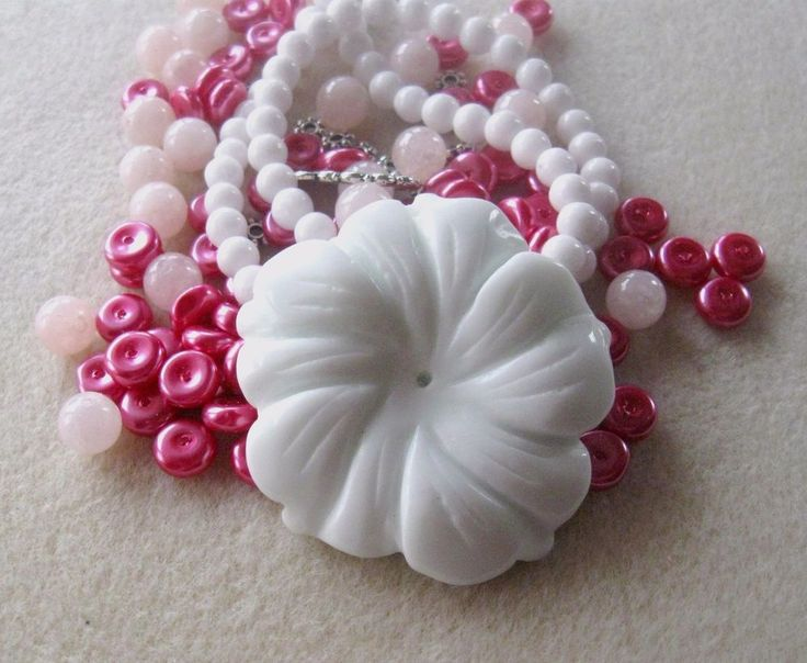 Magnesite Flower Pendant, Mother of Pearl Beads, Glass Beads, DIY Jewelry Kit