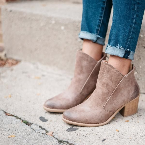 BACK FOR PRE-ORDER! Expected Ship Date: 1/25 The Perfect Brown Bootie with Back Zip, Just in Time For Spring! Material: Man-Made, Leatherette Sole: Synthetic Runs True to Size Model Wearing Size 7 **P