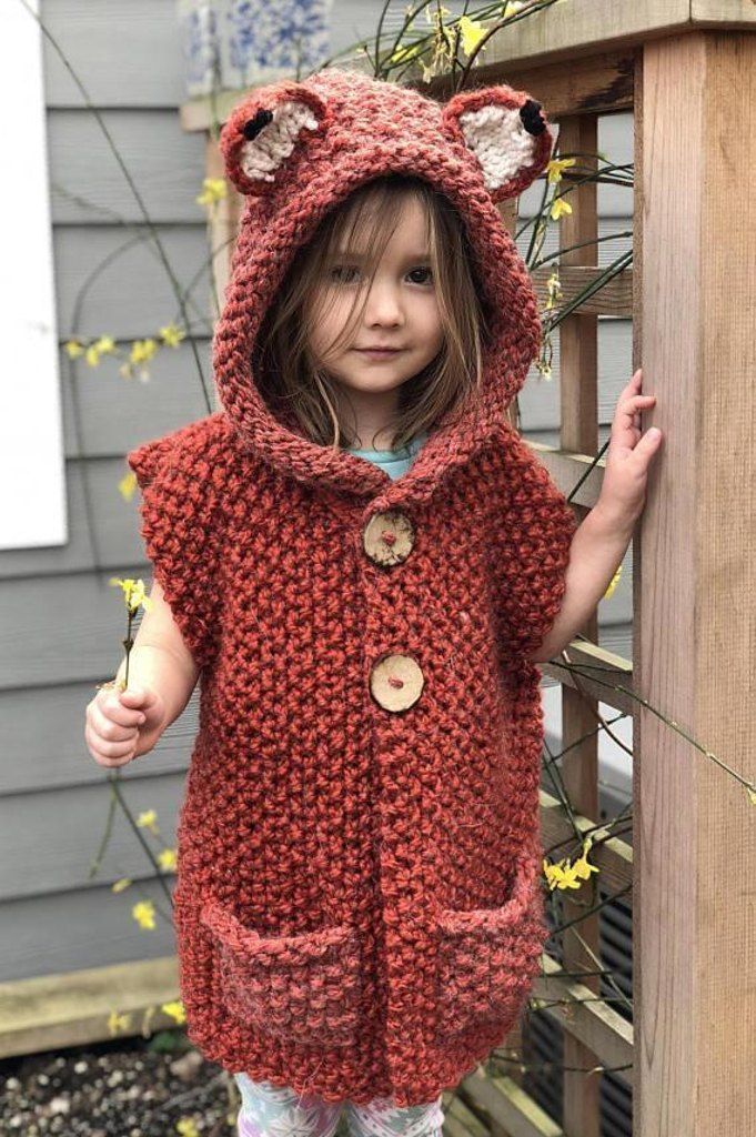 This pattern is a beginner/intermediate pattern. Each part of this vest is knitted individually and is then pieced and sewn together. A tutorial including measurement of each component of the vest is included. Once complete this vest is sized for toddler sizes 3 to 5! Find this adorable children pattern at LoveKnitting.Com.