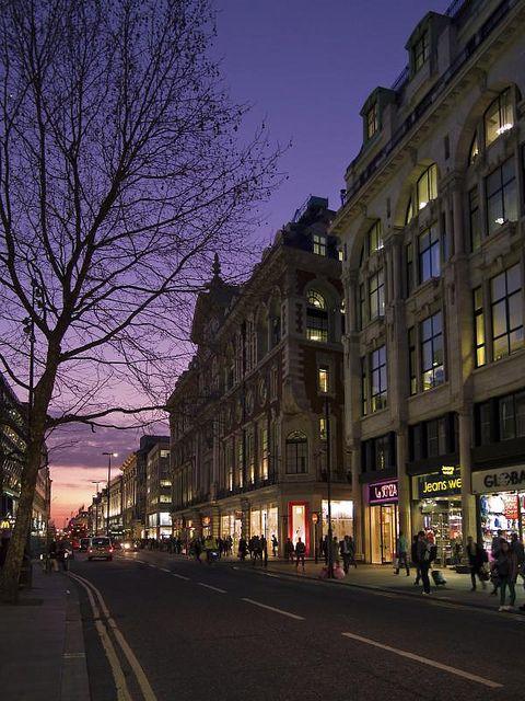 Evening light in London's Oxford Street
