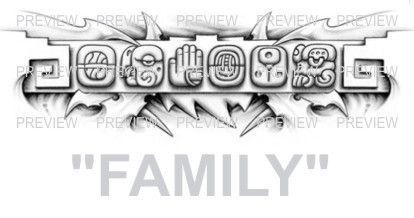 FAMILY Mayan Glyphs Tattoo Design B » ₪ AZTEC TATTOOS ₪ Aztec Mayan Inca Tattoo Designs Instant Download