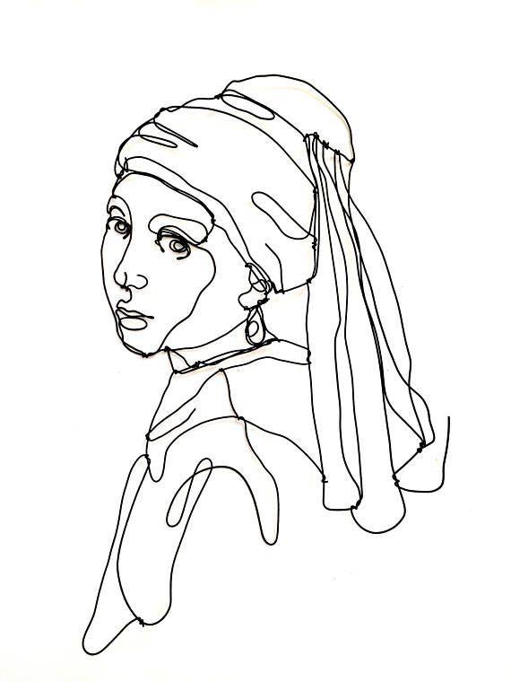 Mädchen mit Perlenohrring Draht-Wand-Skulptur Mädchen