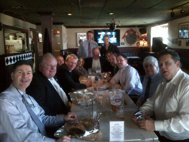 """@JIMrichards1010 @Britt_A MT """"@cllrainslie: Mayor Ford + City Councillors of after Budget in Monarch Tavern """""""