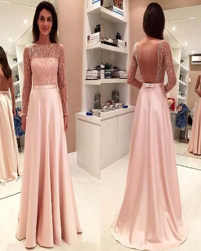 A40-A-line Bateau Long Sleeves Sweep Train Backless Pink Prom Dress2017