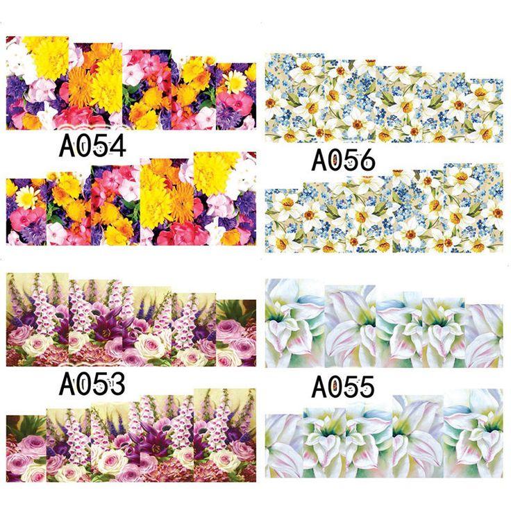 1 Blatt Nagel Kunst Nageltattoo Sticker Aufkleber Blumen Muster A053-056 | eBay