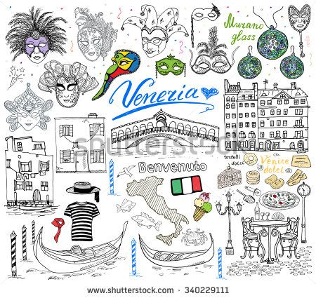 Venice Italy sketch elements. Hand drawn set with flag, map, gondolas gondolier clothes , houses, pizza, traditional sweets, carnival venetian masks, market bridge. Drawing doodle collection isolated