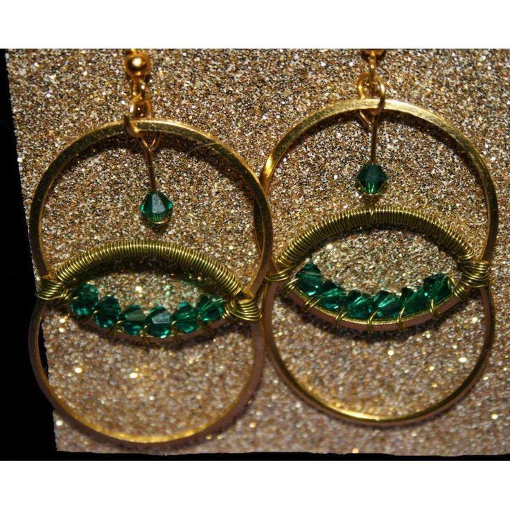 $14.25 - Wrapped in Golden Green Pierced Earrings by DornanDesigns on Handmade Australia