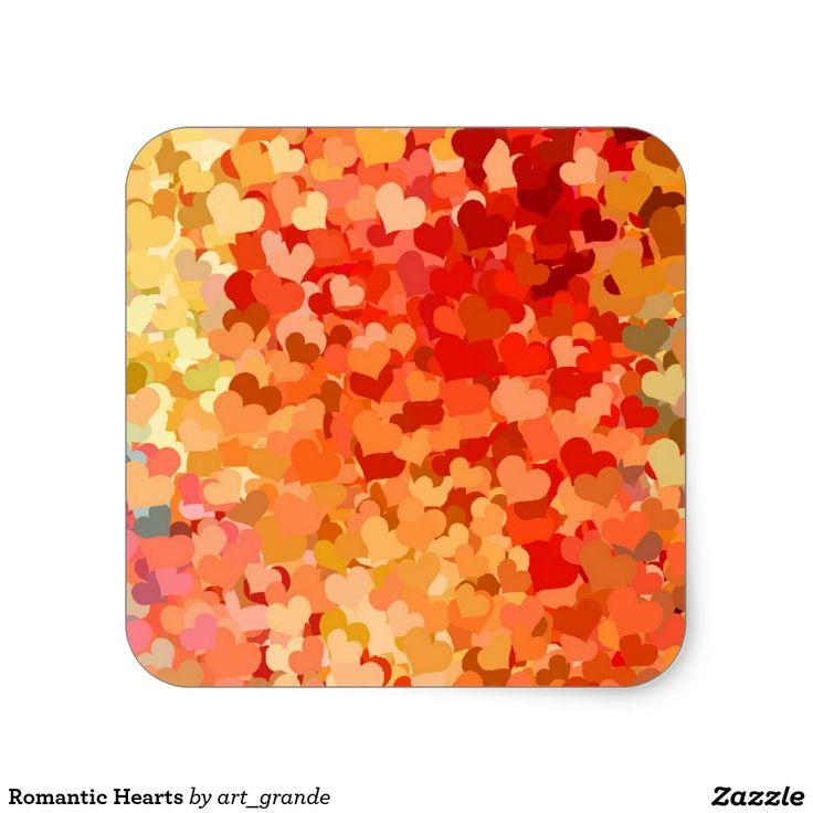 Romantic Hearts Square Sticker