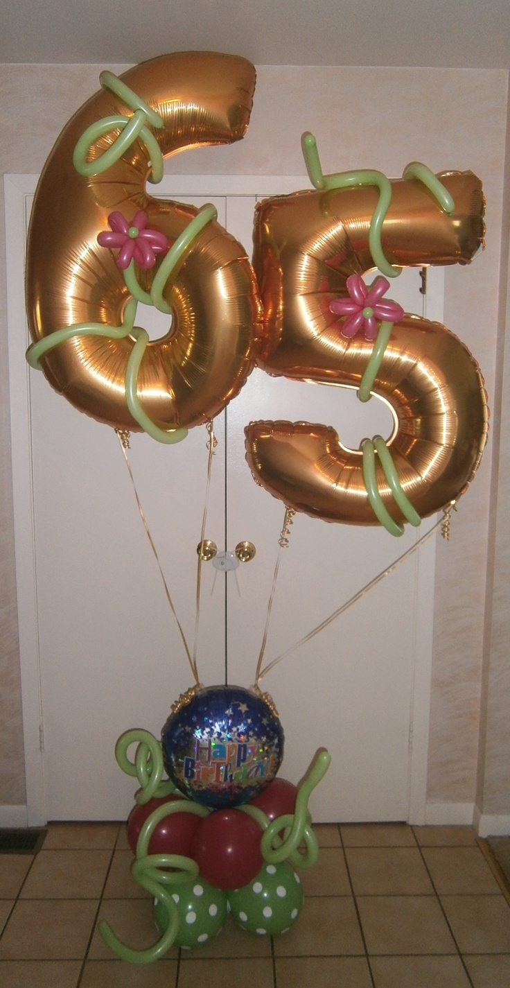 Special 65th birthday delivery.  Can be made with any numbers.  Jumbo balloons are 40 inches tall.  Your choice of color accents too.  Makes a nice balloon delivery option for any milestone birthday - 30, 40, 50, 60, 70 or even 100!
