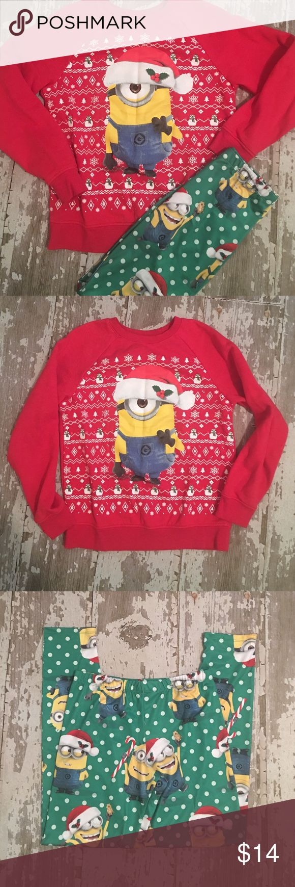 ❤️🎄Despicable ME (Minion Outfit) Girls Large XL Girls Minion Outfit! Perfect for an Ugly Sweater Party or a School Christmas Party!🎄🎁 Worn one time. Excellent Condition. Sweater is size Large & Leggings are XL (Youth). 🎄🎁 Bundle & Save More! Target Matching Sets