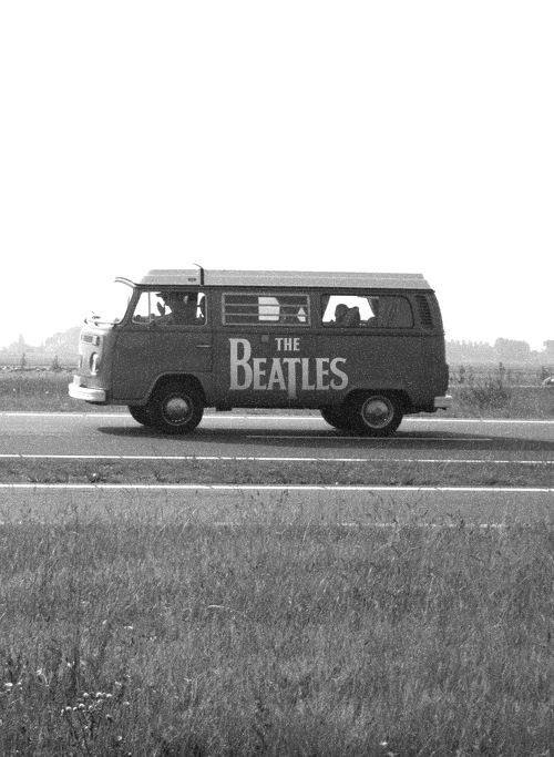 The Beatles   on tour   combi van   road trip   music   musicians   black & white photography   drive   vintage