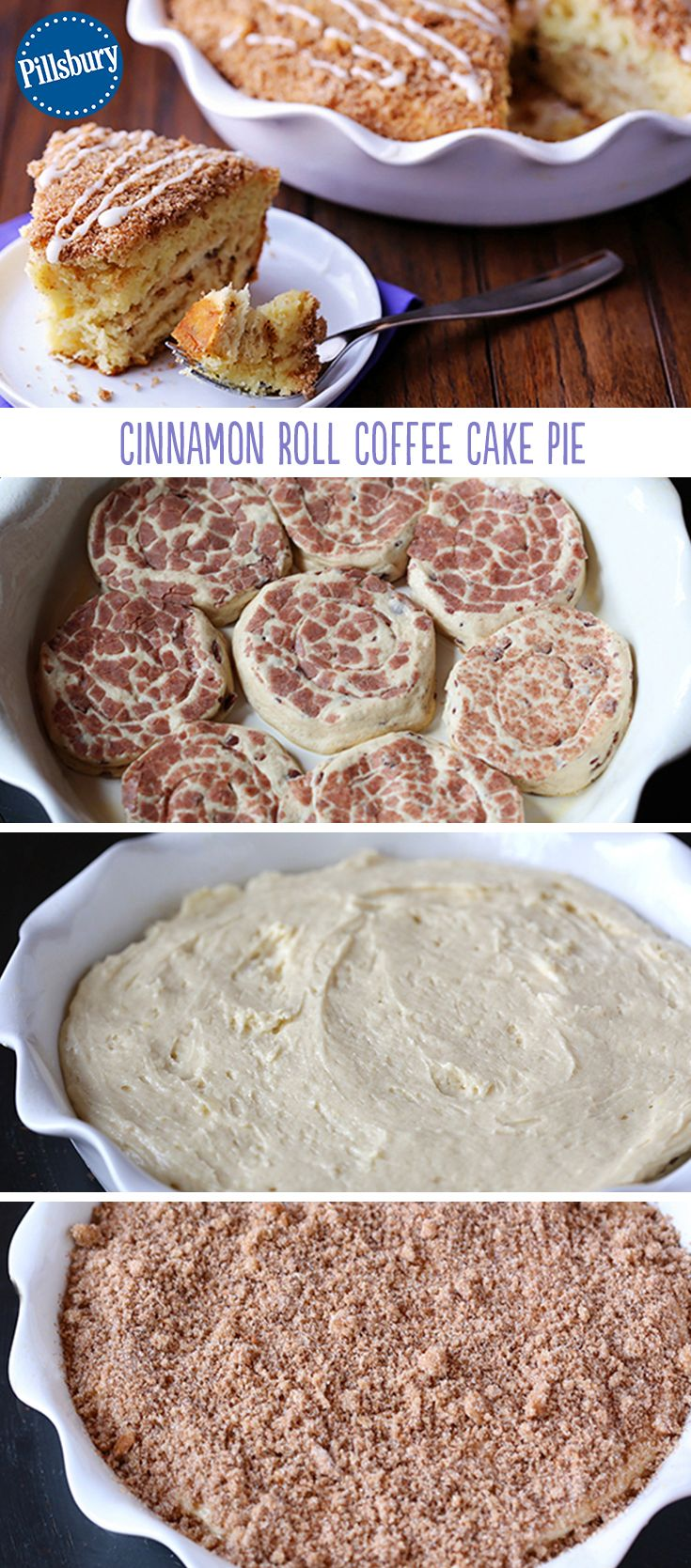 Cinnamon rolls serve as the crust in this delicious coffee cake... what could be better? This easy coffee cake recipe is full of flavor and you can serve it for a crowd. This is a must for your Sunday brunch or weekday breakfast.