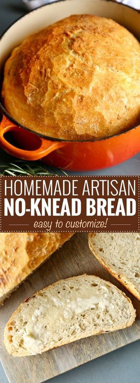 Homemade Artisan No-Knead Bread   Perfectly crusty on the outside, with a soft fluffy inside, this no-knead bread is perfect with any dinner!   https://thechunkychef.com