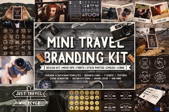 Mini Travel Branding Kit - Preview by Brandspark on @creativemarket