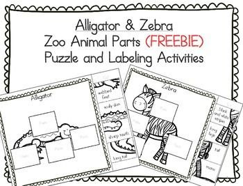 This packet contains an alligator and zebra puzzle and labeling activities.  Students will cut and glue the animal pieces onto the animal. They can use the labeling sheets as a review. The following animals (and associated parts) have been included in this packet: alligator - webbed feet, scaly skin, sharp teeth, long tail zebra - black and white stripes, long legs, tail, maneRelated Products:Zoo Animals: 20 Animal Puzzle Parts - Cut & Paste and Labeling Activity (FREE) Farm Animals: Shee...