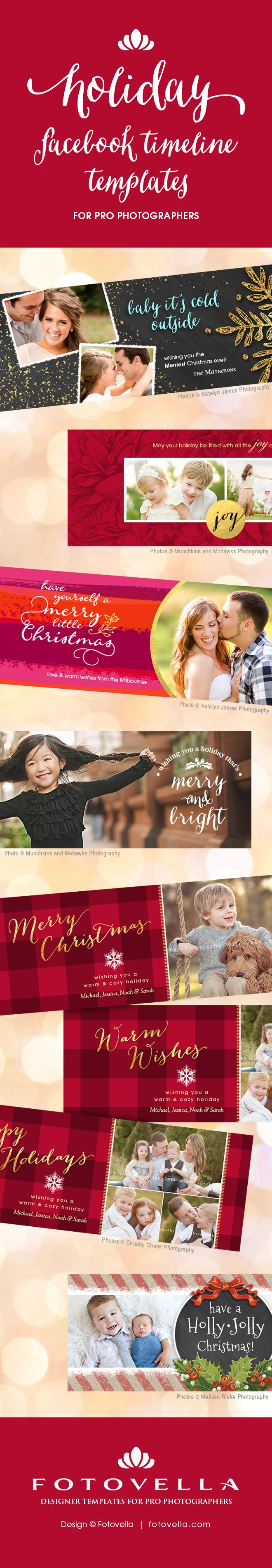 Holiday Facebook timeline cover. Christmas Facebook timeline cover template. Photographer Photoshop templates. #photographytemplates #photoshoptemplates