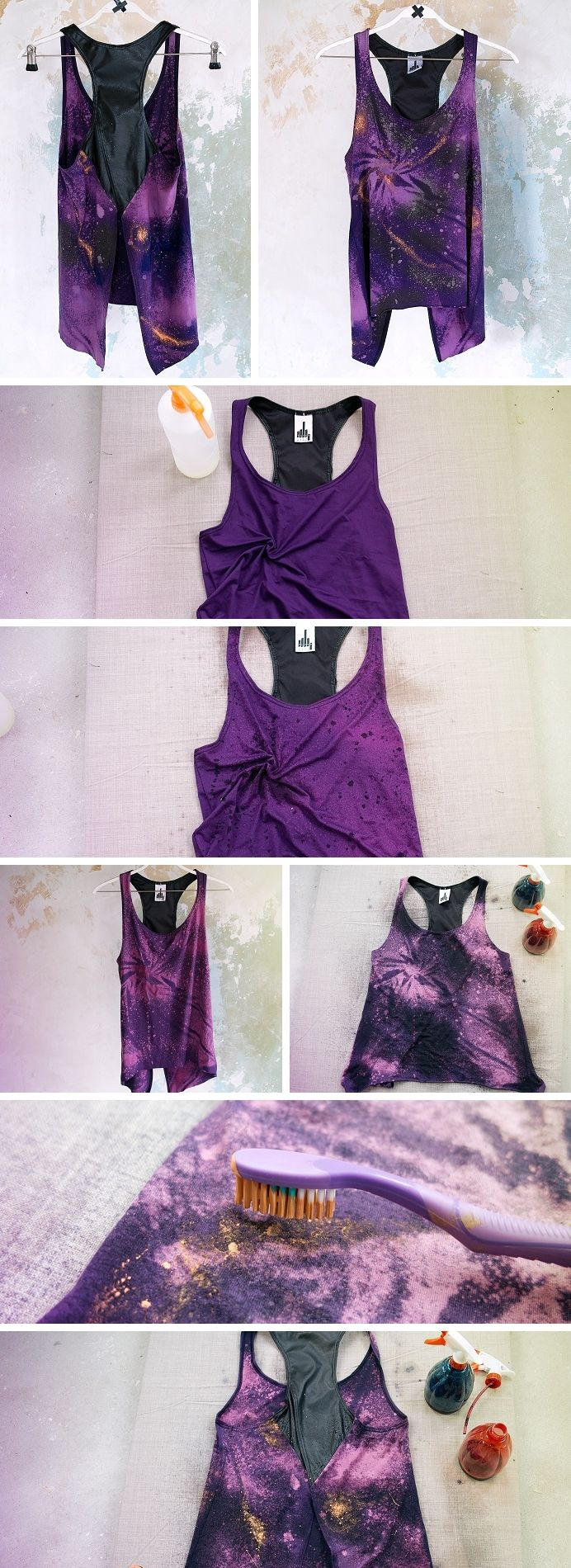 "Tutorial per creare maglia effetto ""Galaxy"" // DIY tutorial to create a vest in ""galaxy"" effect.  Check the blogpost! :)"