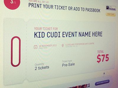 Ticket - Web interface design UI UX