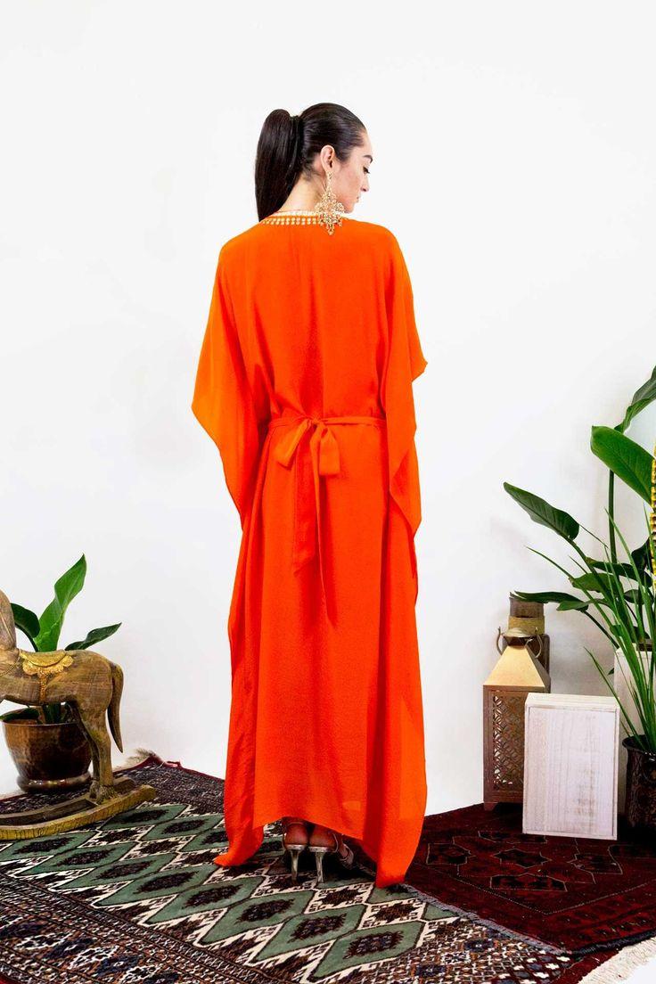 Orange Embellished Long Kaftan Dress - Designer Women's Clothing - Shahida Parides