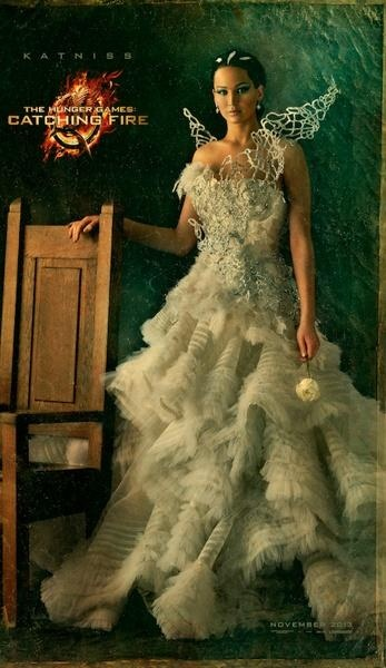 """Katniss Everdeen in """"Catching Fire"""" (2nd movie of The Hunger Games books) --this is supposedly her wedding dress, designed by Cinna, for her marriage to Peeta..."""