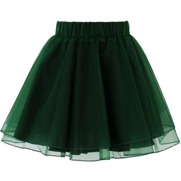 Chicwish Organza Tulle Skirt in Green ($34) ❤ liked on Polyvore featuring skirts, mini skirts, bottoms, green, faldas, green skirt, elastic waist skirt, organza tutu, green mini skirt and layered skirt