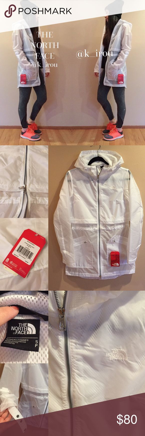 """White windbreaker jacket Brand new very cute white windbreaker jacket from the north face. Model is 5'2"""" 115lbs wearing this size small jacket. It's a long jacket and slightly see through. The half down is little more see through than top half. There's two way zipper. And adjustable for the waist from inside the jacket. And there's zipper side pocket on each side. North Face Jackets & Coats"""