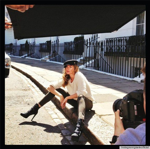 Gisele shooting in London the HM Fall 2013 campaign