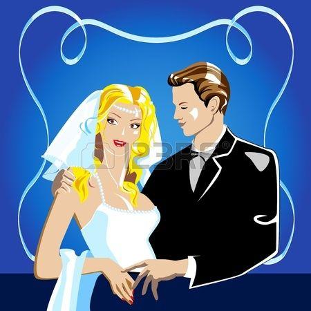 Свадебный портрет. Жених и невеста в темно-синем фоне. Фото со стока - 11650718