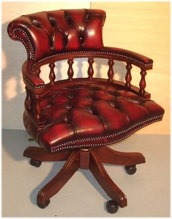 Captains Desk Chair Captains Chair   Leather Yew And Mahogany Reproduction Desk Chairs