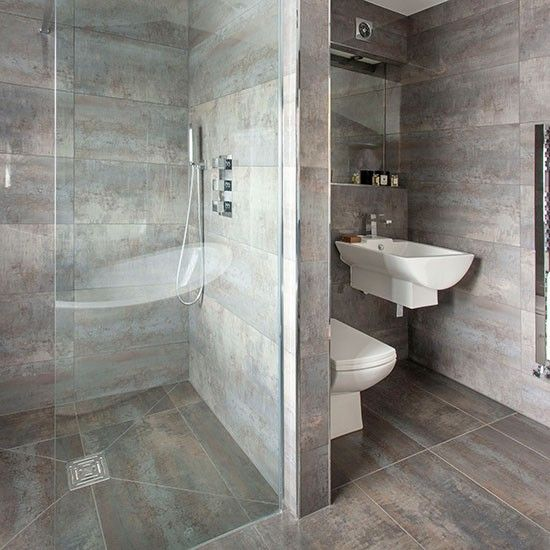 Grey bathroom with walk-in shower | Decorating | housetohome.co.uk