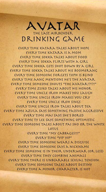 Avatar the Last Airbender: drinking game