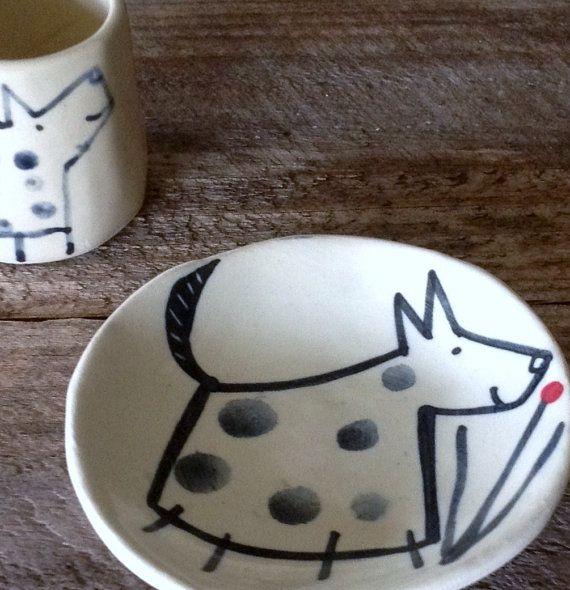 Set of four green wash ceramic plates by YunikoStudio on Etsy