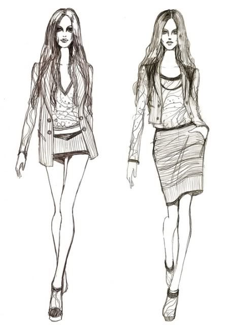 Dress sketches for fashion designing black and white bedding