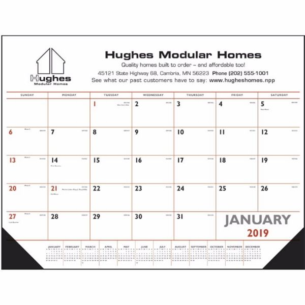 Proforma Signature Solutions from Brooklyn Heights OH USA No one can miss a promotional plug they touch every day! This USA-printed, red and black desk pad calendar features vinyl corners to protect page edges. Desk pads keep a customer's name in front of potential clients on a daily basis. The grid includes Julian dates, huge ad areas and plenty of writing space for every day of the year. Top markets include financial, insurance and health care. Spread your brand around workplaces ev...