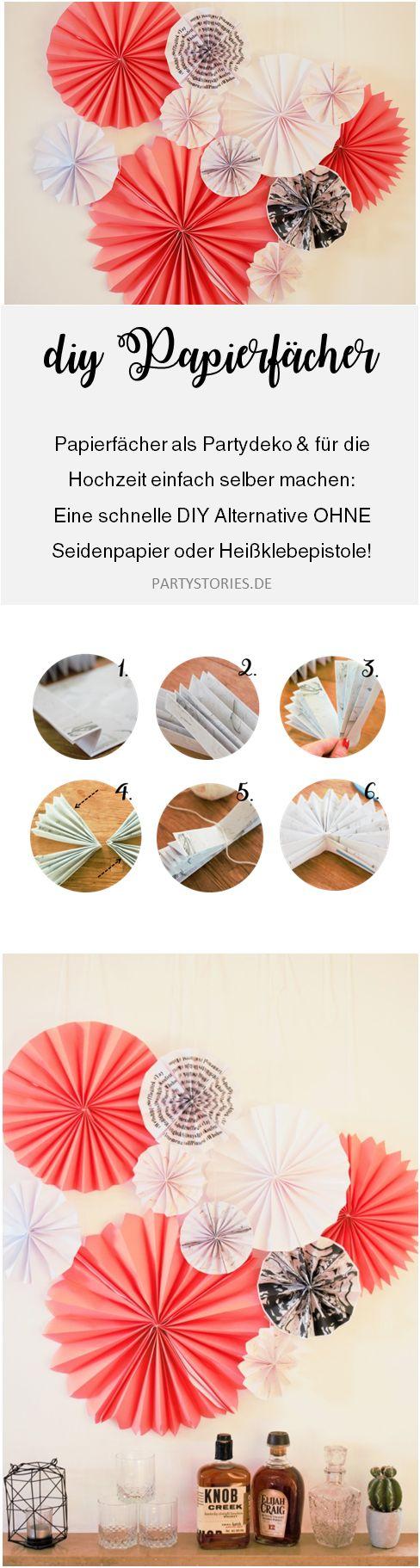 DIY Papier Rosetten und Papierfächer - mit dieser Anleitung Papierfalter als Partydeko und Hochzeitsdeko einfach selber machen, gefunden auf www.Partystories.de