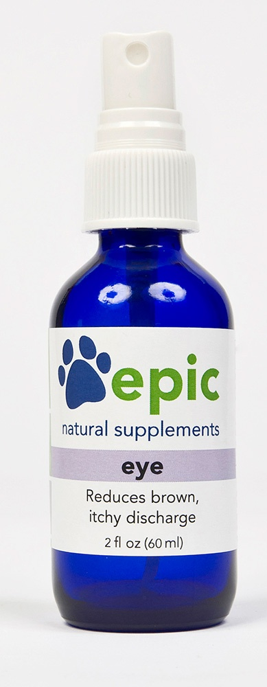 All natural eye drops for dogs and cats with sensitive eyes.  This supplement improves itchy eyes, runny eyes, and brown discharge.  This supplement does not prevent or remove eye staining.
