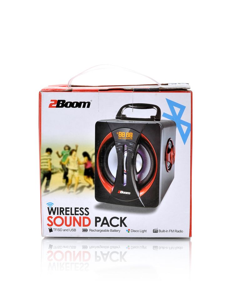 2BOOM Wireless Sound Pack Bluetooth Portable Subwoofer Speaker with LED Display, FM Radio, and TF/SD/ USB Input - Black. 2BOOM Wireless Sound Pack Bluetooth Portable Subwoofer Speaker is our smallest tailgate speaker equipped with Bluetooth Chipset technology. Its small, ultra-portable design, allows to be carried from your backyard to the stadium parking lot in preparation for the big game. With LCD Display and FM radio, you can dial in to sports radio and keep up with the score from the...