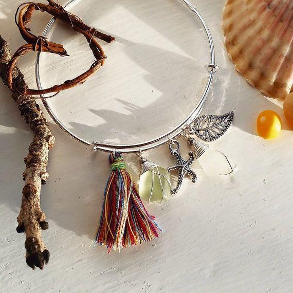 Seaglass jewellery at Poppy & Ivy Studios. Boho seaglass tassel bangle, indie jewelry, bohemian jewellery, Irish Design.