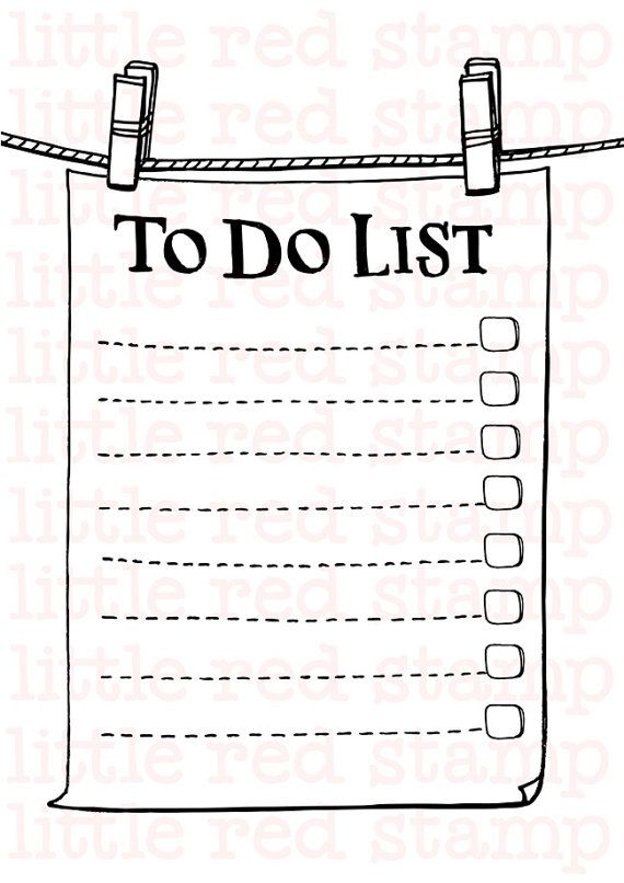 To Do List Printable Page A4 Paper note pinch by LittleRedStamp