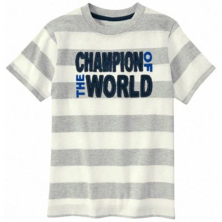 Camiseta Gymboree Champion of the World a rayas gris