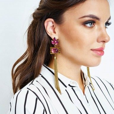 Burgundy Fringe Earrings