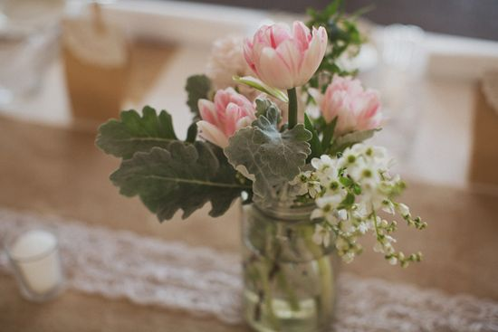 Mona and William's Romantic Adelaide Wedding - Lovely pink and white flowers for a wedding table - Whitewall Photography