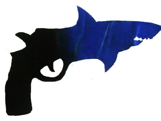 Fusión de tiburón + pistola, representando el MIEDO