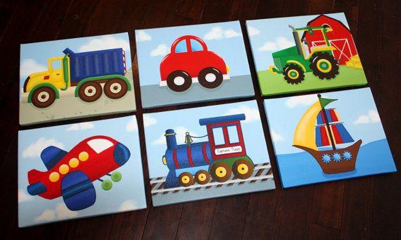 Set of 6 Transportation Trucks Planes Trains Boats Boys