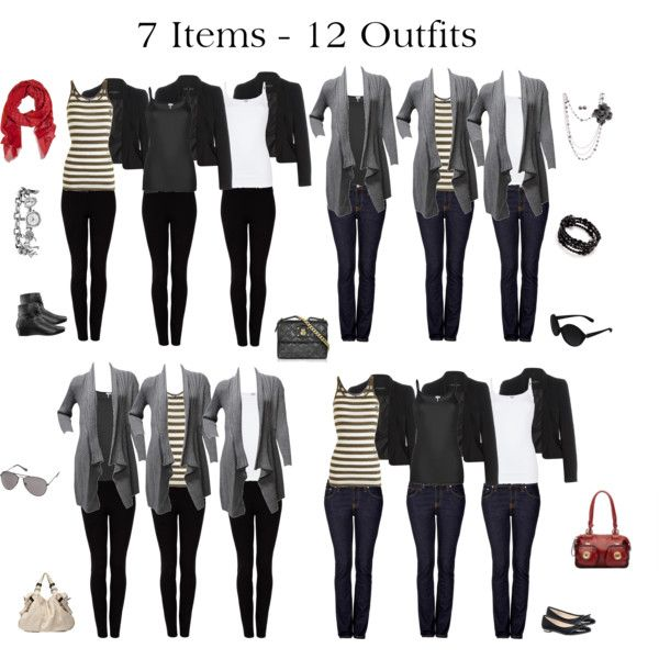"""7 Items - 12 Outfits"" by issacat on Polyvore LLee>> all 12 outfits have the same Bottom piece..."