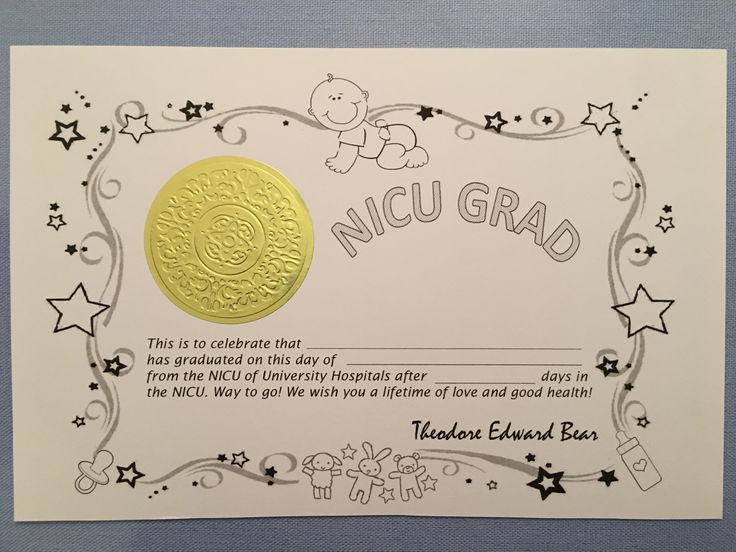 I was a little surprised that our NICU didn't have graduation certificates, so I made some that you can print for free. The sticker is just a gold seal that I bought from Amazon here. In case…