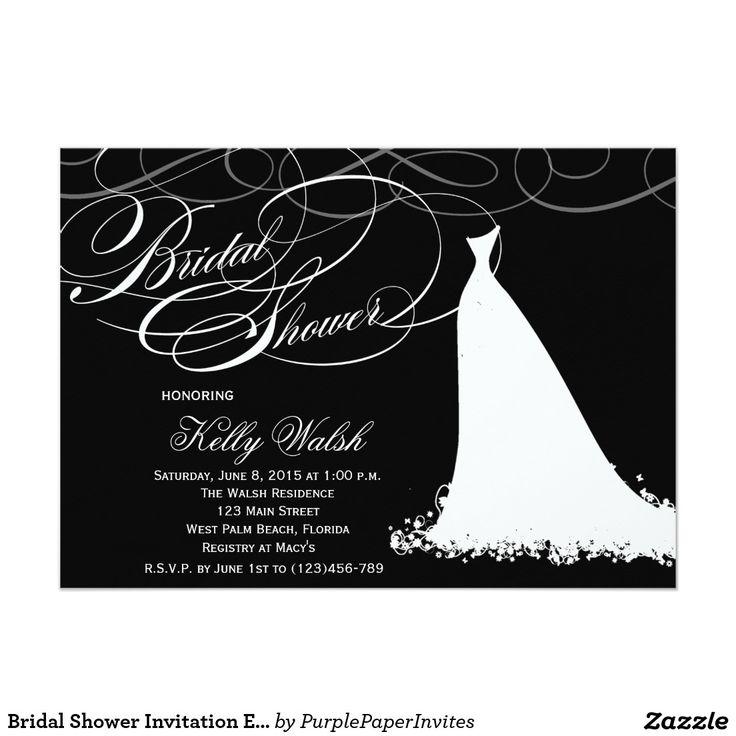 Bridal Shower Invitation Elegant Wedding Dress The