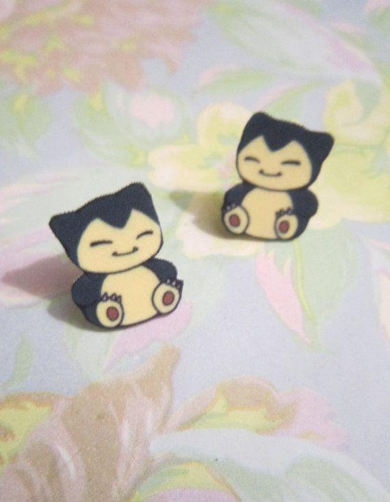 Snorlax Earrings Pokemon Earrings Pokemon by BunnieBunsShop