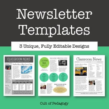 FREE-Newsletter Templates - Editable.. Classroom Management, For All Subjects Not Grade Specific...Classroom Forms, For Parents..Want to freshen up your classroom newsletter? These clean, contemporary newsletter templates are fully editable and ready to be customized and shared as print newsletters or emailed as PDFs.  This PowerPoint file includes instructions for how to add your own text and photos, how to convert your file to a PDF,.all fonts are embedded in file