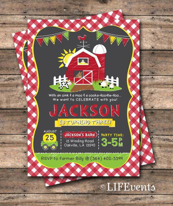 Farm Birthday Invitation Farm Invitation Red Barn Invite